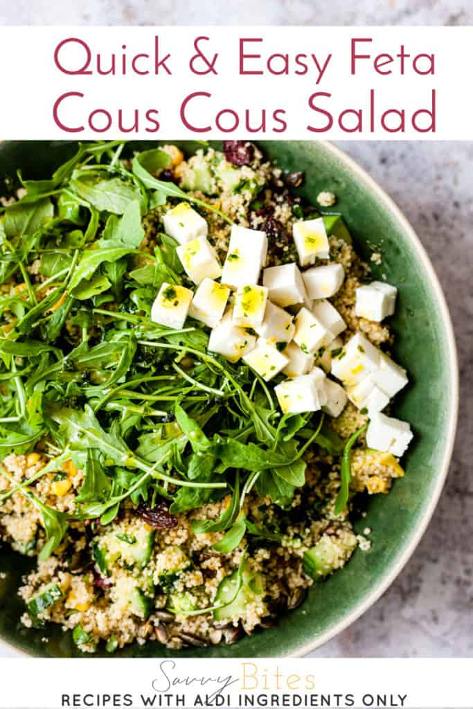 couscous salad in a green bowl with text overlay