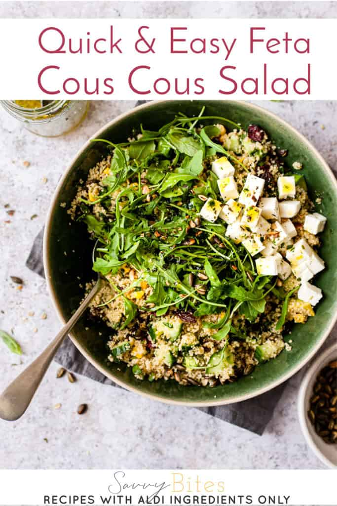 couscous salad with text overlay