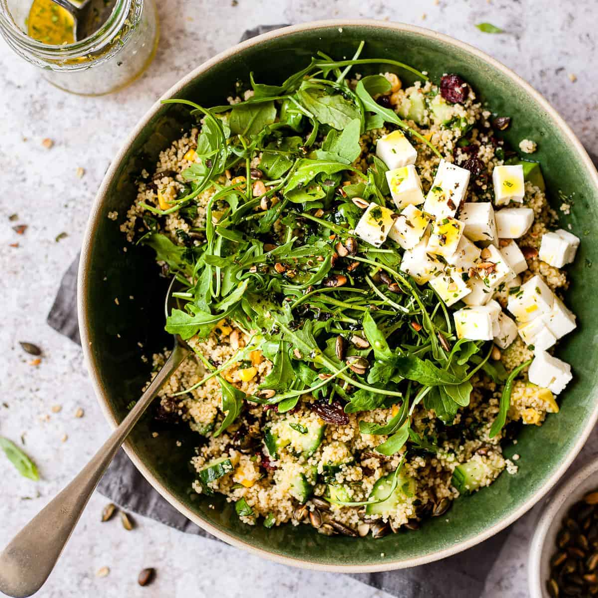 large bowl of couscous salad using Aldi ingredients