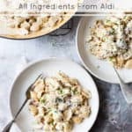 quick and easy one pot chicken and bacon pasta with text overlay.