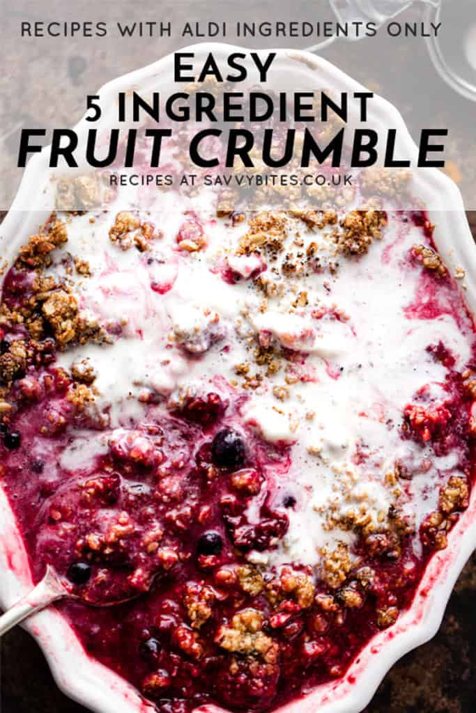 5 Ingredient fruit crumble with text overlay
