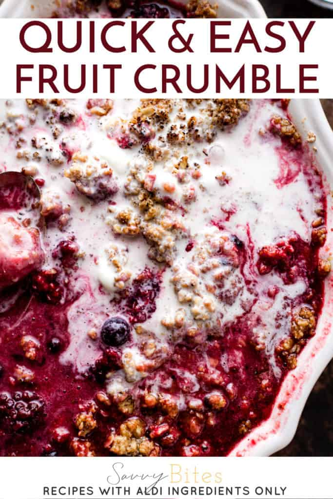 quick and easy fruit crumble with text overlay.