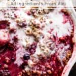 easy 5 ingredient frozen fruit crumble ingredients from Aldi UK.