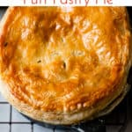 easy chicken and mushroom pie with text overlay.