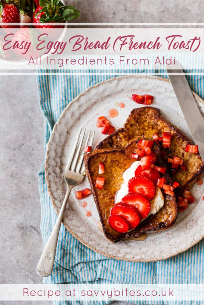 eggy bread with cream and Aldi ingredients.