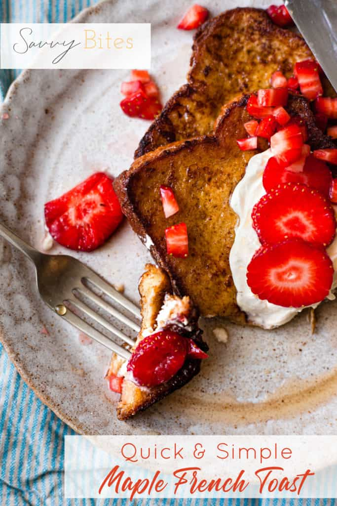 eggy bread with strawberries and cream