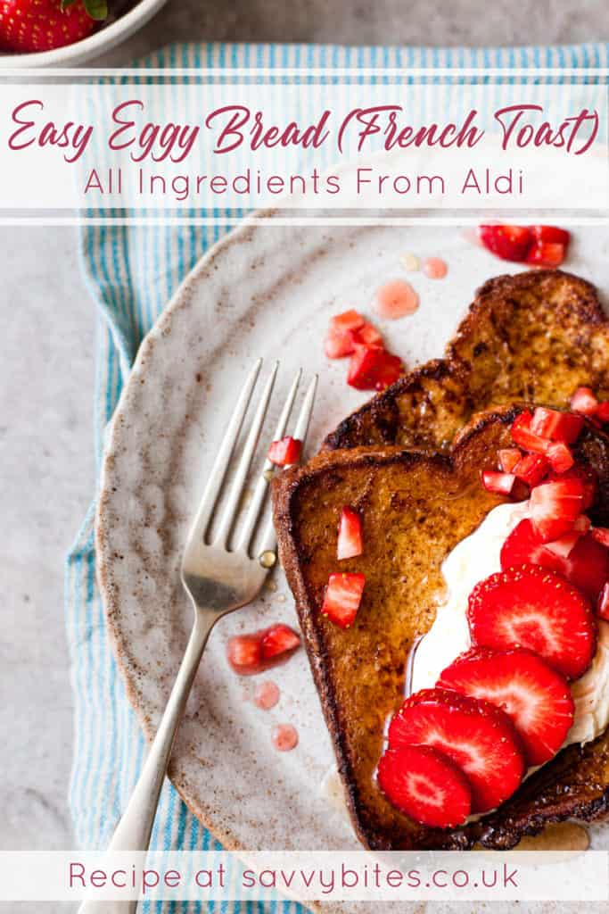 eggy bread with strawberries and cream.