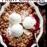 Quick and easy fruit crumble with text overlay. All ingredients from Aldi.