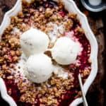 Fruit crumble with vanilla ice cream