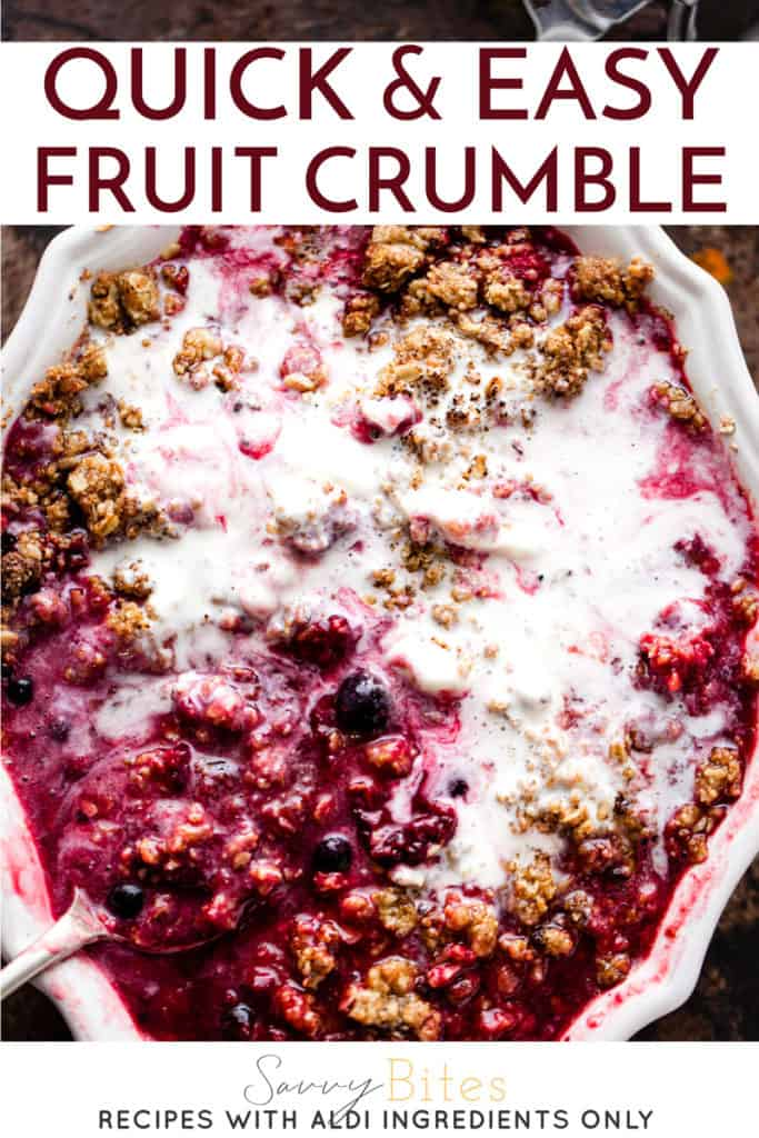 easy oat topped fruit crumble with ice cream and a spoon