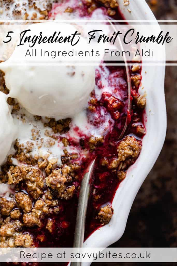 Easy fruit crumble with jammy fruit and ice cream. Uk measurements