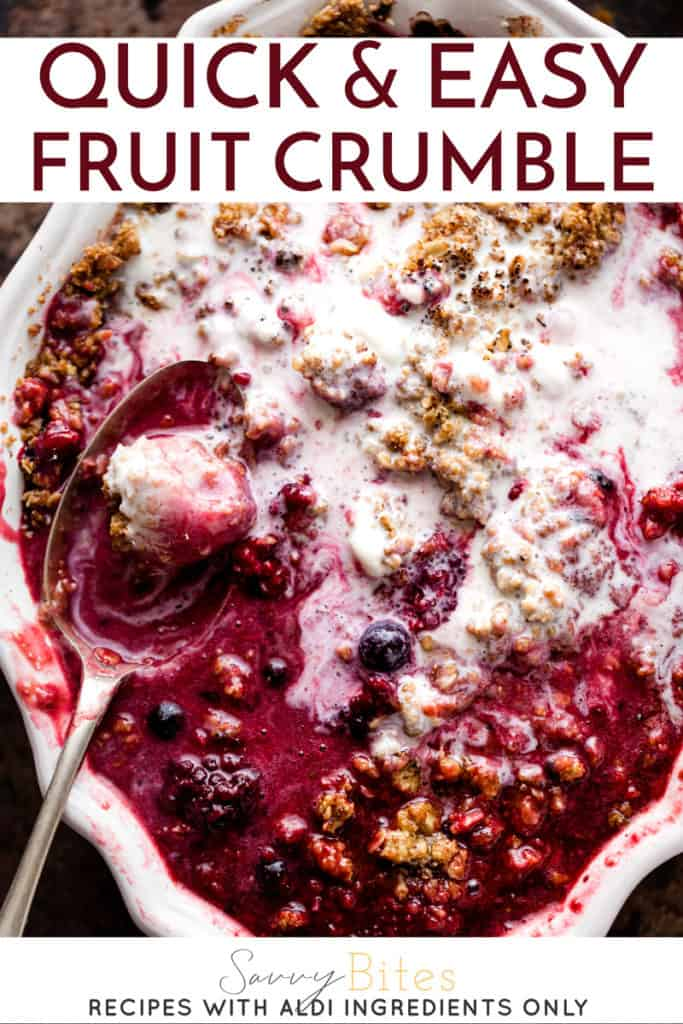 Easy fruit crumble with ice cream and Aldi ingredients.