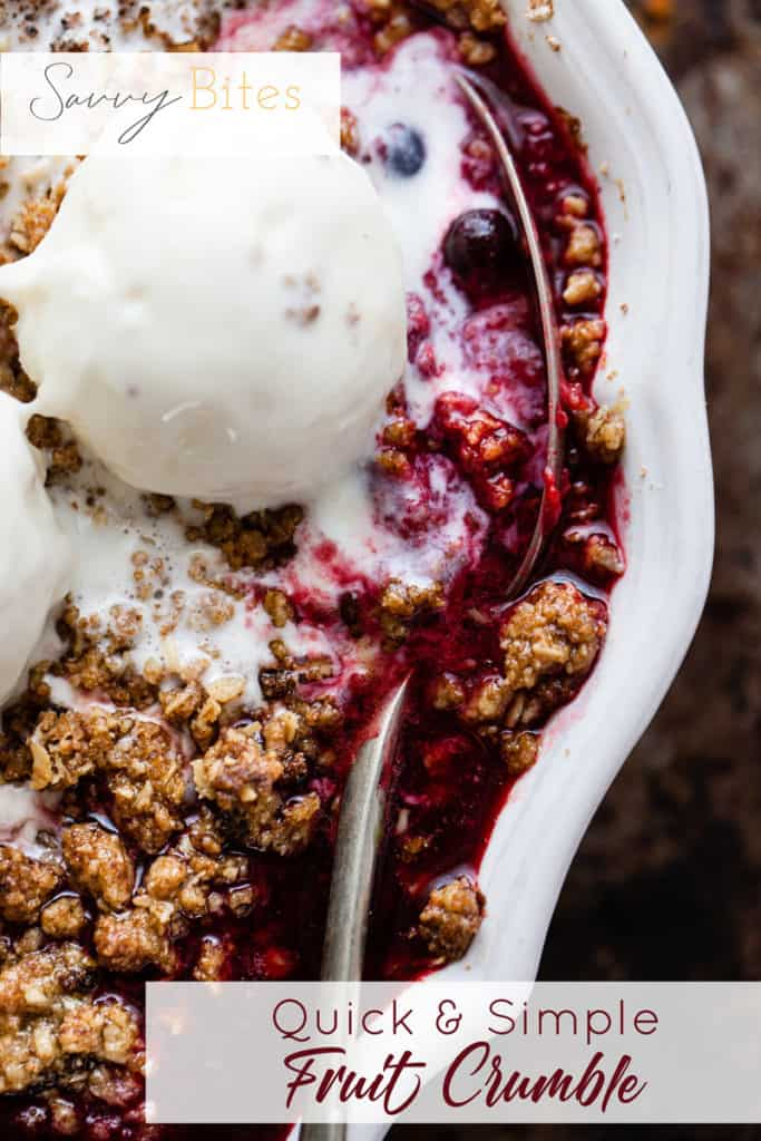 easy fruit crumble with buttery oat topping using Aldi ingredients.