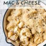 creamy easy baked mac and cheese with text overlay
