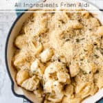 easy baked macaroni and cheese with ingredients from aldi.
