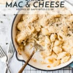 homemade mac and cheese with text overlay.