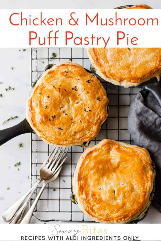 Creamy chicken and mushroom pie with puff pastry lids.
