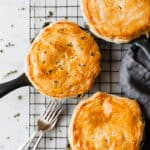 Easy chicken and mushroom pie with a fork and a napkin.