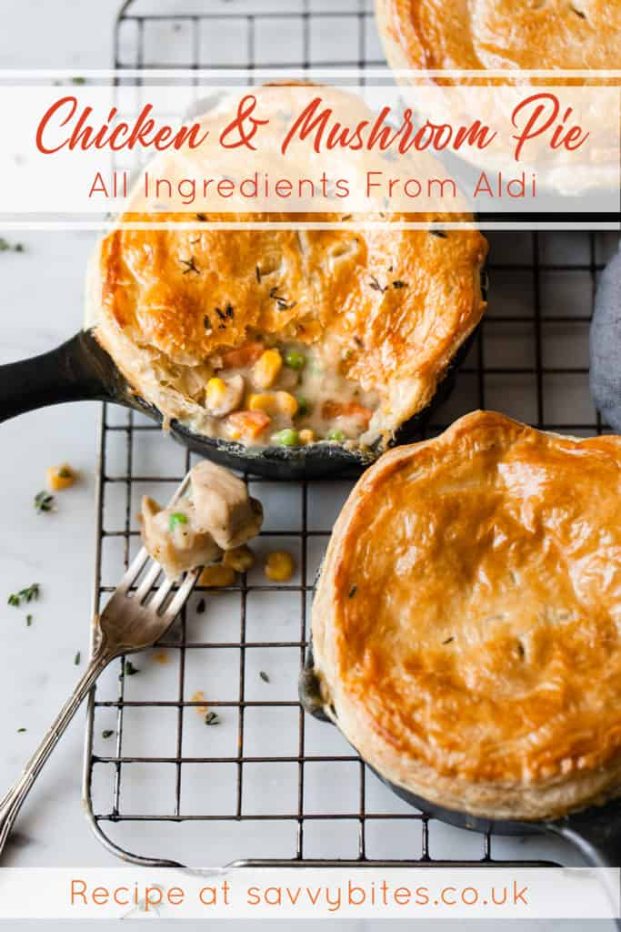 Chicken pie with mushrooms and a puff pastry lid