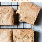 Sea salted white chocolate blondies with text overlay.