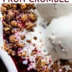 Easy fruit crumble with text overlay