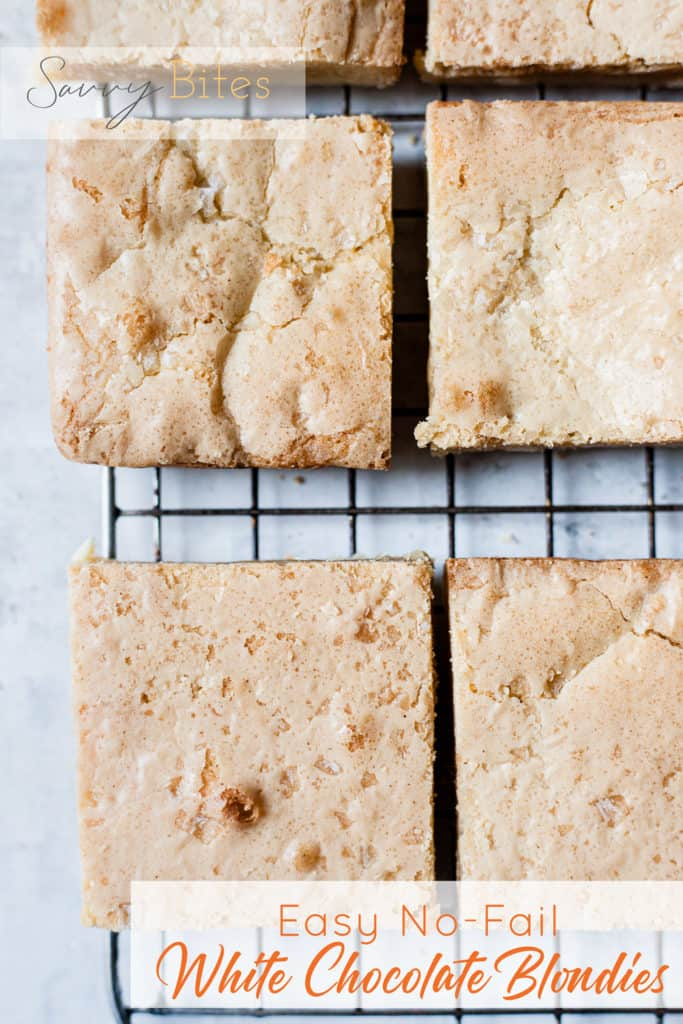 No fail salted blondies on a cooling rack with text overlay.