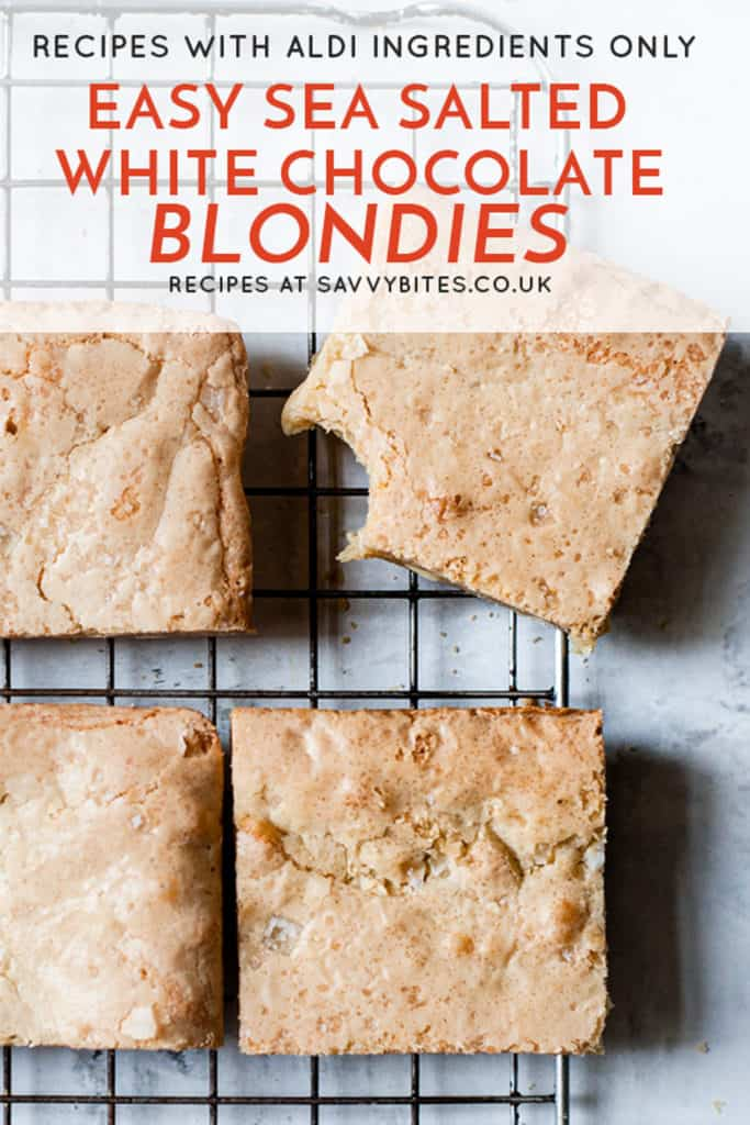 quick and easy blondies with text overlay on a cooling rack.