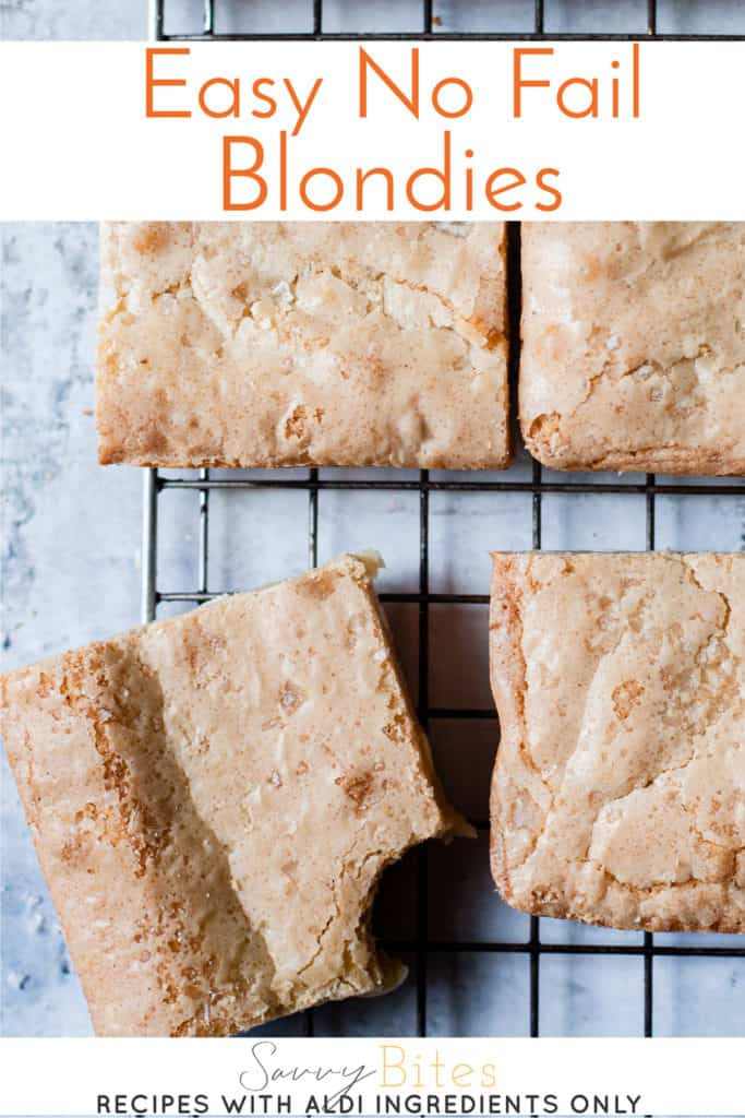 Easy blondies with aldi uk ingredients with text overlay.