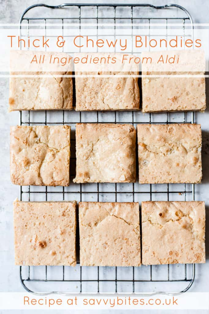 Thick and chewy blondies with text overlay on a cooling rack.