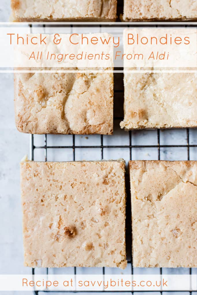 Quick and easy blondies with text overlay.