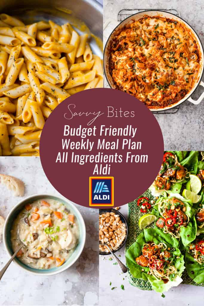The healthy budget weekly menu for families using only ingredients from Aldi. Get the free meal plan and the free printable shopping list, as well as the recipes with step by step instructions for each recipe to make sure that dinner is easy all week.