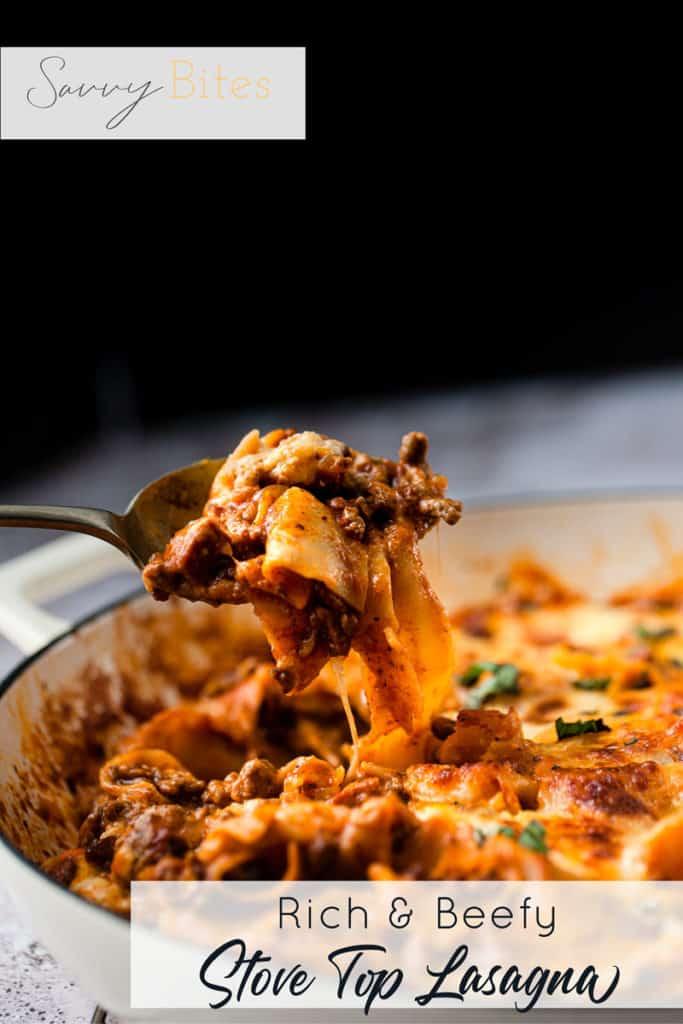 lasagna with text overlay. Aldi ingredients.