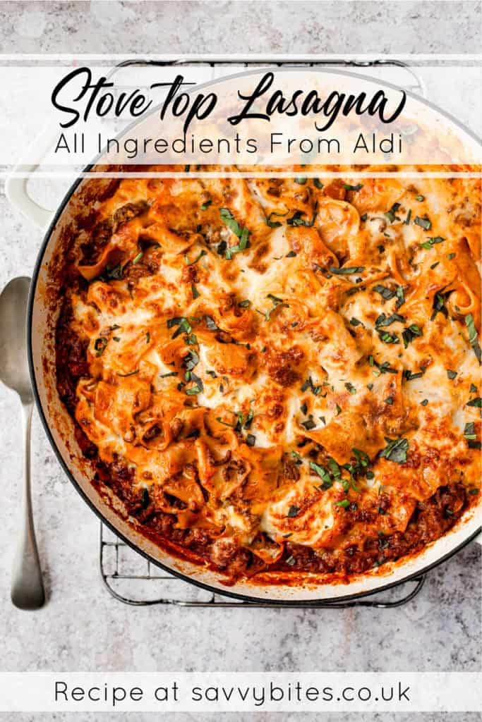 Easy lasagna with text overlay