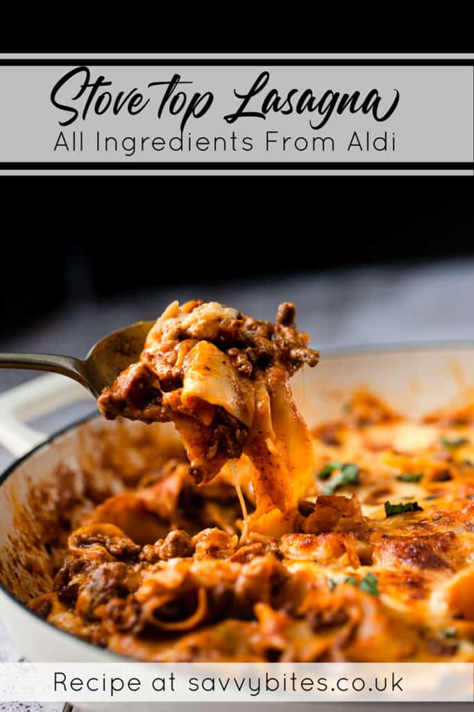 easy lasagna with ingredients from Aldi