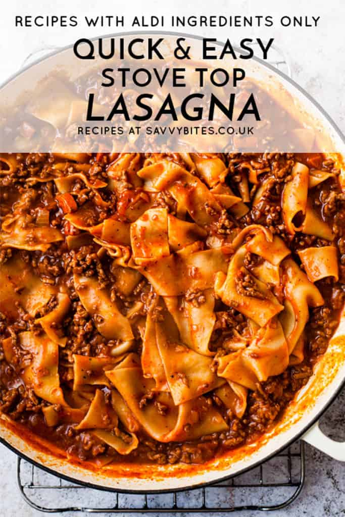 Quick and easy lasagna in a white dish.
