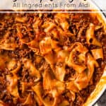 easy lasagna with ingredients from Aldi.
