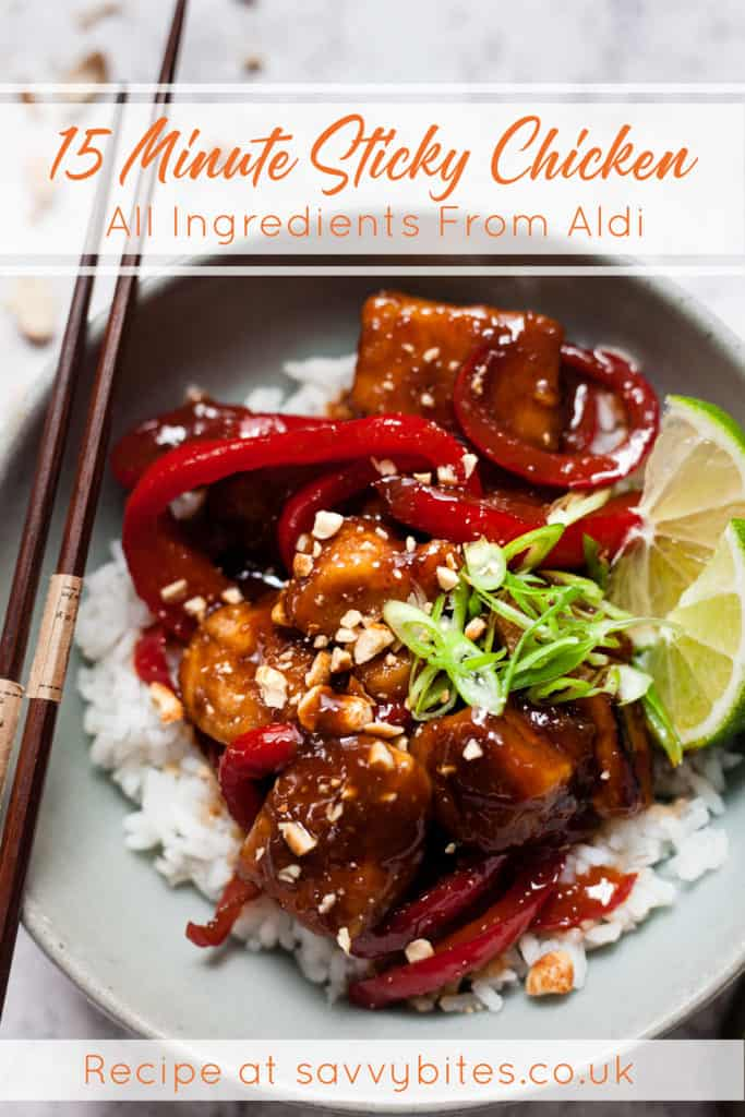 Sticky chicken in a blue bowl with text overlay.