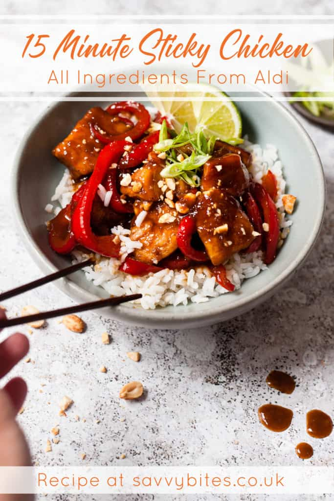 15 minute sticky chicken with rice on a white table.