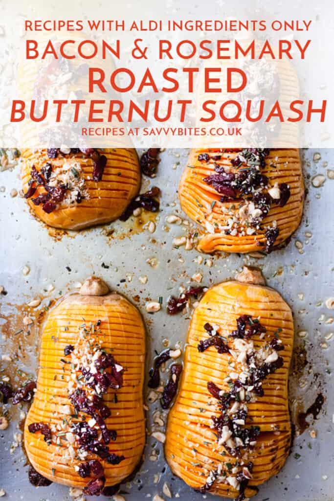 Roasted butternut squash veggie side dish Aldi ingredients.