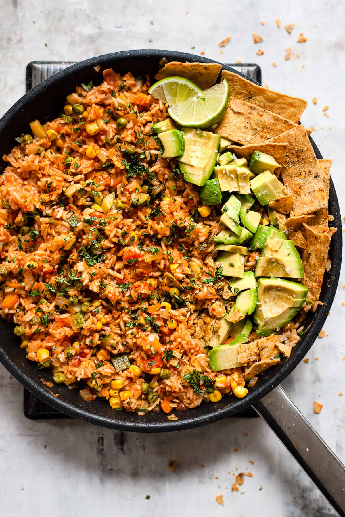Mexican rice in a pan with Aldi UK ingredients budget meal plan