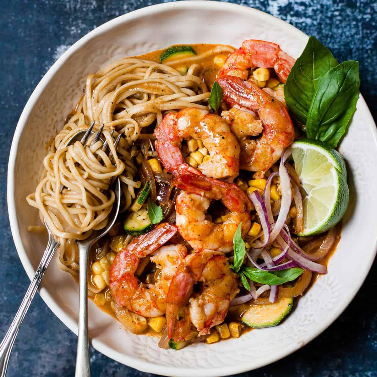 aldi recipe prawn curry in a white bowl