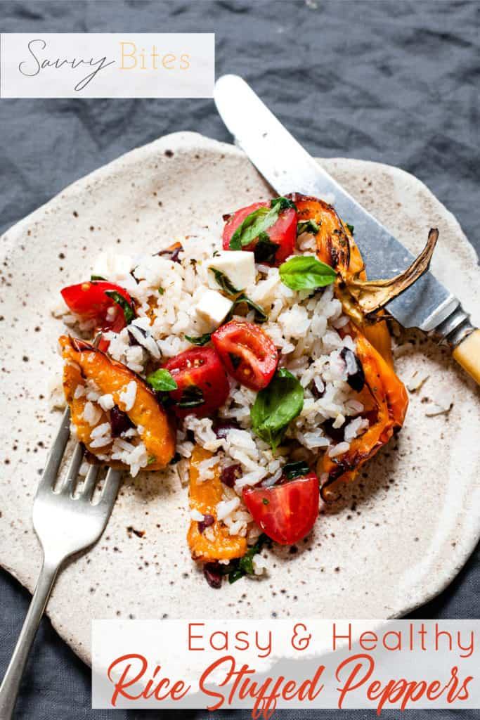 Stuffed peppers with rice on a white plate. Aldi recipes
