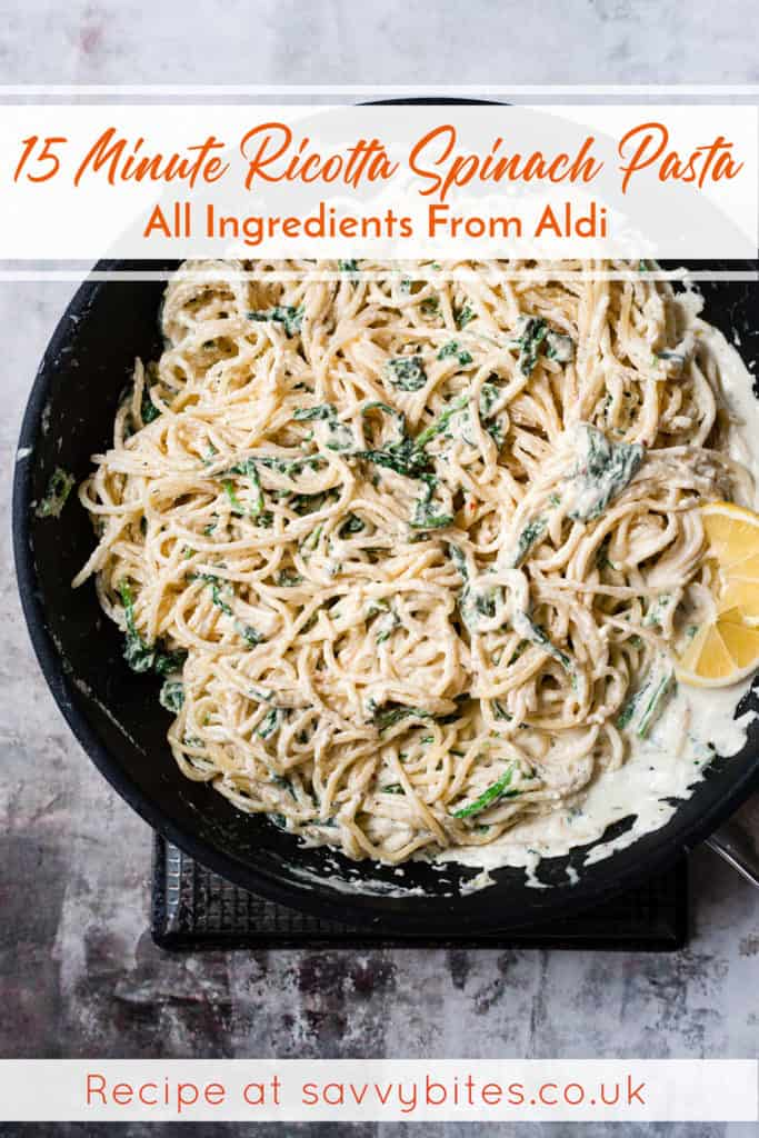 Spinach ricotta pasta in a white bowl. Aldi recipe