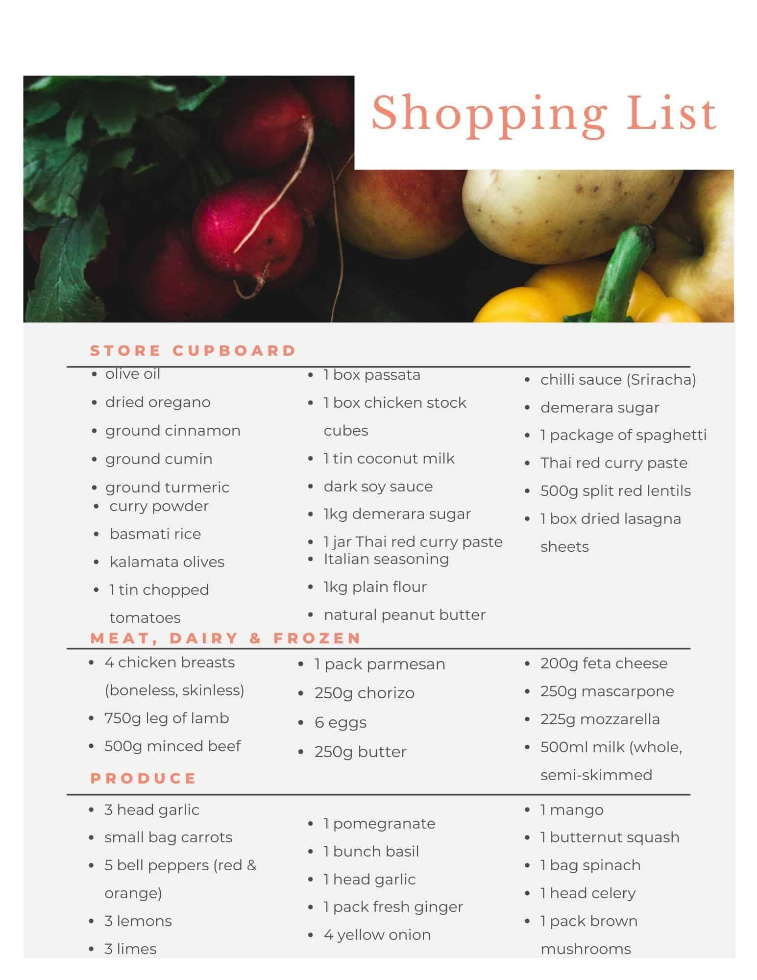 Shopping list for Aldi meal plan.