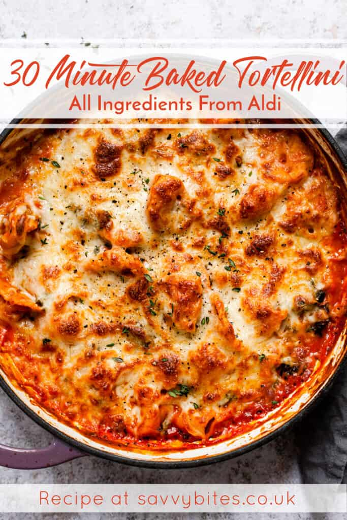 Baked tortellini with golden bubbling cheese and a spoon. Aldi ingredients.