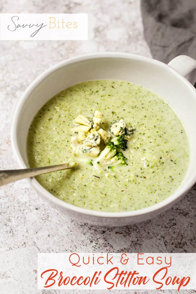 broccoli and stilton soup with a spoon.