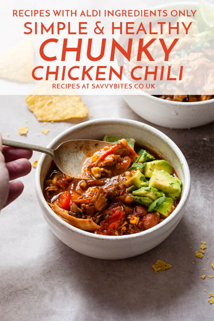 bowls of easy chicken chili on a white table with text overlay