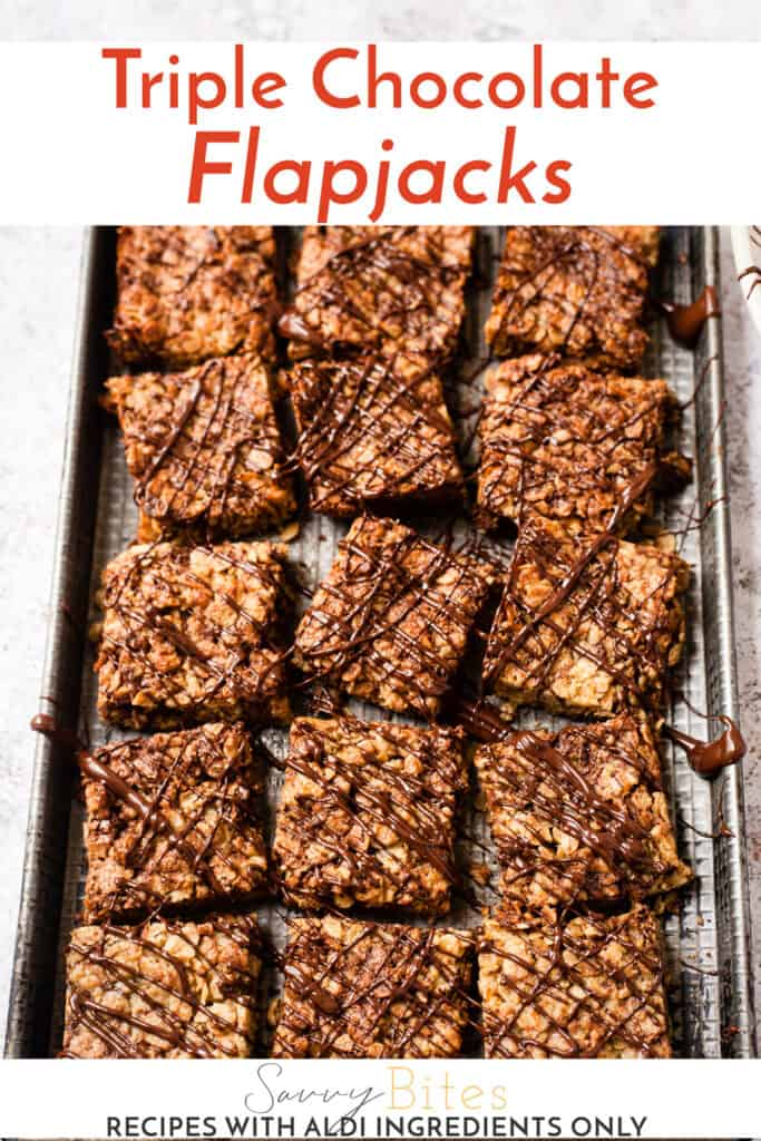 chocolate flapjack black tray text overlay.