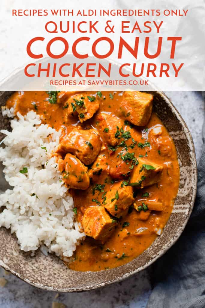 Coconut chicken curry in a brown bowl with text overlay.