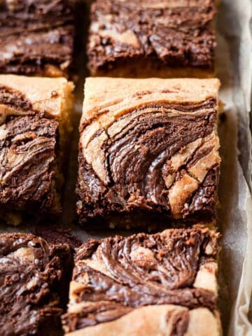 Nutella blondies in a baking tray.